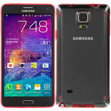 For Samsung Galaxy Note 4 Hybrid Shockproof TPU Hard Skin Case Clear Red