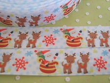 1M x Santa Reindeer Christmas GROSGRAIN RIBBON, Craft, Bow,Cake 25MM *UK*