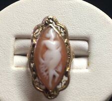 10k Yellow Gold Vintage Cameo Ring Marquise Shape Filigree Size 4 1/4