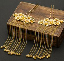 Gold Chinese Classical Bridal Tassel Hairpin Hair Jewelry Headdress Headband