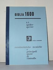 Manuale Officina Alfa Romeo Giulia 1600 TI Giulia Sprint, Spider workshop manual