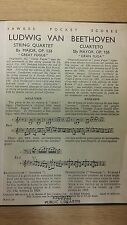 Beethoven: String Quartet: Opus 133: The Great Fugue: Music Score