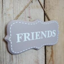 Rustic Taupe & White Sign Friends Wooden Door Wall Plaque Hung on Jute CLEARANCE