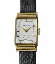 Vintage 1940's HAMILTON 18k Yellow Gold Fancy Case Antique Men's Watch