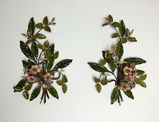 "EXQUISITE Pair of ITALIAN 26"" METAL TOLE FLORAL WALL SCONCES & CANDLE HOLDERS"