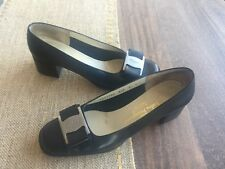 Ferragamo Vera heels, black, leather, size 6.5 C, wide, could fit 7, designer