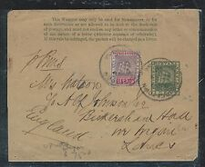 BRITISH GUIANA (PP1906B) 1C SHIP PS WRAPPER UPRATED 2C SHIP TO ENGLAND