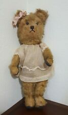 "Antique Vintage Steiff Girl Teddy Bear with Dress Mohair Straw Large 16"" long"