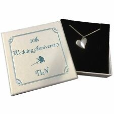 10th Wedding Anniversary Gift - Curvy Heart Necklace cast in Tin - Tin Gift