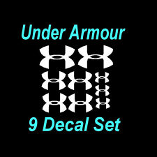 Under Armour Decals (9) Set  Window Stickers Three Sizes - Great Deal -