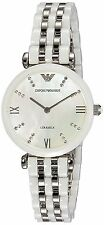 BRAND NEW EMPORIO ARMANI AR1488 WHITE CERAMIC SILVER STEEL MOP DIAL WOMENS WATCH