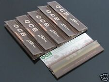 6 Booklets OCB 110mm Slim King Size UNBLEACHED VIRGIN Paper Rolling Papers #268