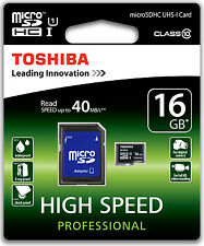 TOSHIBA 40MB/s MICRO SD 16GB CLASSE 10 CLASS MICROSD SDHC SCHEDA DI MEMORIA CARD