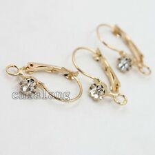 100x Wholesale Rhinestone Rose Gold French Hooks Earring Earwires Findings DIY C