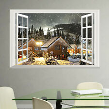 Nice Xmas Snow Village Night View Wall Sticker Decal 3D Window Mural Home Decor