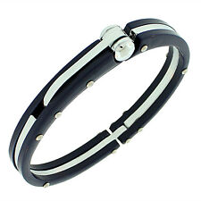Stainless Steel Dark Navy Blue Silver-Tone Handcuff Mens Bracelet with Clasp