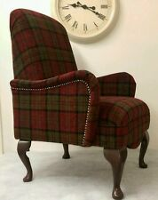 Country Shabby Chic Red Lana Tartan Bedroom Chair. Free delivery UK Mainland