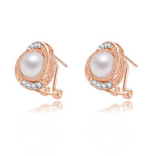 Chic 1 Pair Fashion Ladies 18K Gold Plated Crystal Ear Stud Earring Jewelry Gift