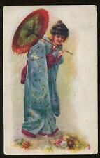 1908 Postcard  Beautiful Geisha with Umbrella Hayfield MN cancel B3976