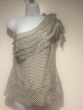 BCBG Women's Silk one shoulder top Black Beige Striped Size XS