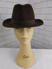 Vintage 1950s Dunn & Co Dark Brown Fur Felt Retro Trilby Fedora Hat 56cm
