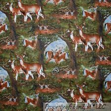 BonEful Fabric FQ Cotton Quilt Green Brown Scenic Deer Buck Tree Hunt Fish Camp
