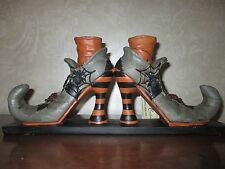 "NWT ~Halloween~Fancy Witch's Boots 15"" Taper Candle Holders-Witches-Adorable!"