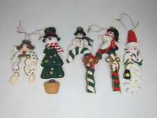 Lot of 5 Christmas Ornaments Polymer Clay Tree Decoration snowman Candy Cane Red