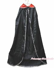 Halloween Party Black Red Bling Long Cloak Vampire Boy Girl Cape Costume Unisex
