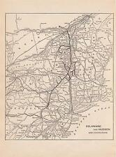 "1930 Delaware & Hudson & Connections Railroad Map*  Small  7 1/2"" x 10 3/4"" Map!"