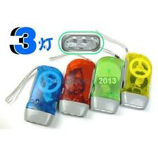 3 LED Dynamo Wind Up Flashlight Hand-pressing Crank NR Non Battery Torch Outdoor