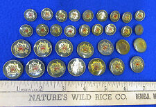 Vintage Kindon Buttons Seal Green Enamel Gold Tone Metal Round Ship Lot of 32