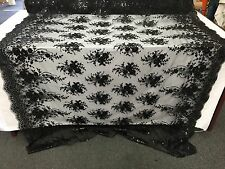 Black Flowers Embroider With Sequins On A Mesh Lace.Prom/Nightgown/Bridal/fabric