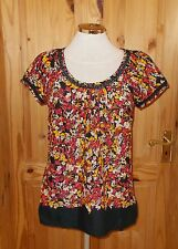 MONSOON black red pink yellow white floral short sleeve tunic blouse top 10 38