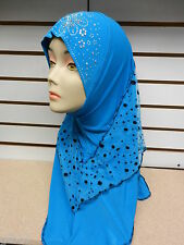 Blue 1 Piece Rhinestone Muslim Hijab Head Wear Cover Scarf Shawl Wrap Cap Islam