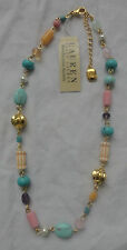 LAUREN BY RALPH LAUREN HALF MOON TURQUOISE SMALL BEADED NECKLACE NWT