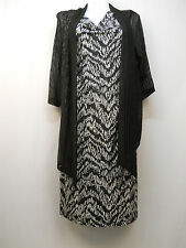 PLUS SIZE 20W Womens Twofer Dress CONNECTED APPAREL Black Draped Neck 3/4 Sleeve