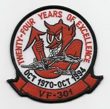 "US Navy F-14 Tomcat VF-301 ""24 years of excellence"" Squadron patch"