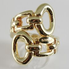 18K YELLOW GOLD BAND RING BIG SNAKE WITH OVALS AND SQUARE SMOOTH, MADE IN ITALY