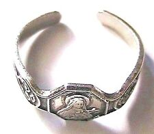 FRENCH RELIGIOUS 1940s SILVER PINKY RING -ST THERESE OF LISIEUX- ADJUSTABLE- NEW
