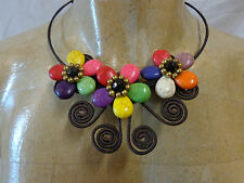 COLLIER FLEURS MULTICOLORE NEUF / MULTICOLORED FLOWERS NECKLACE