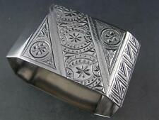 Rare Coin Silver NAPKIN RING Aesthetic w/ Japanesque engraved patterns & birds