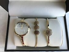 Anne Klein AK/2350BNST Swarovski Crystal Accented Gold-Tone Bangle Watch Set