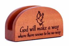 God will make a way Business card holder small Christian office desk gift dove