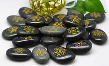 TIBETAN BLESSED MANI MANTRA MYSTERIOUS HOLY BLACK LUCKY STONE FROM HOLY RIVER