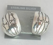 Native American, Navajo hand stamped large sterling silver earrings, signed NEZ
