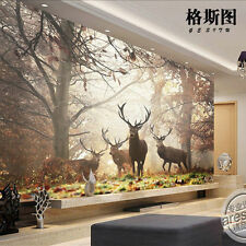 3D Mural wallpaper sitting room Bedroom forest Milu deer Background wall B217