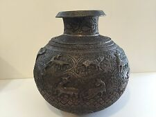 Rare Large Antique Islamic Persian Copper Hand Engraved 3D Animal Figured Pot