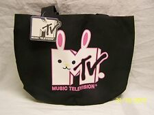 Black Canvas Tote Bag Music Television Logo