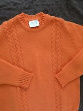 EDINBURGH WOOLEN MILLS Shetland bright orange cable crewneck sweater 38